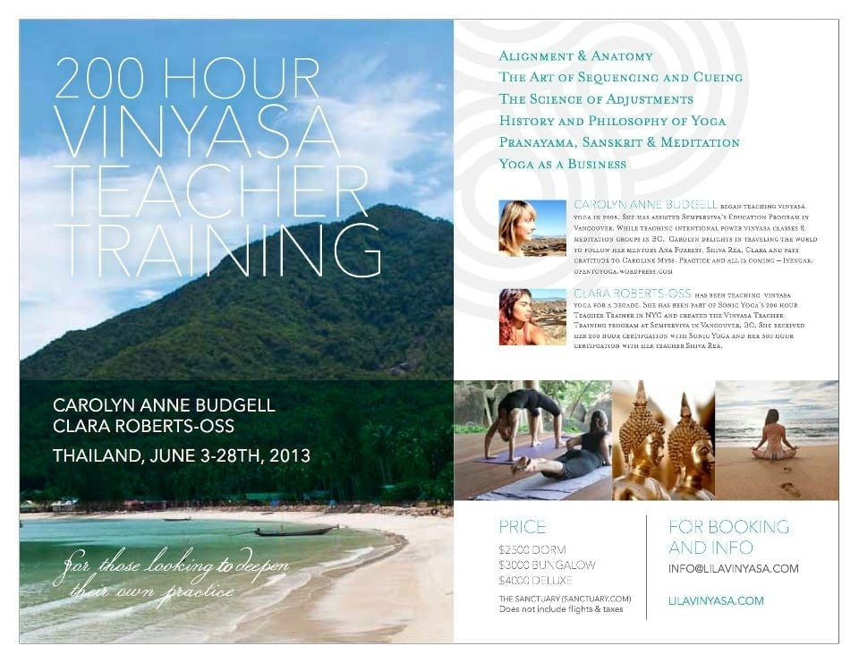 200 Hour Vinyasa Yoga Teacher Training with Clara Roberts-Oss and Carolyn Anne Budgell @ The Sanctuary