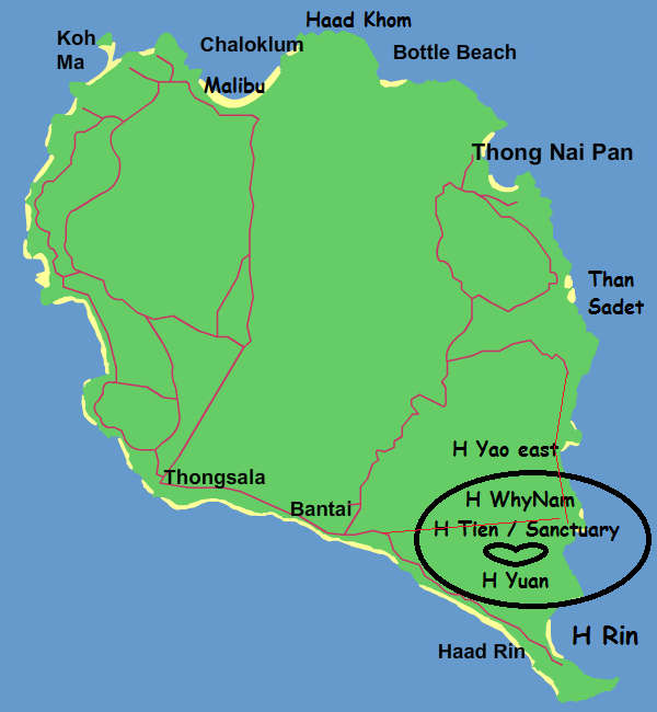 top ten beaches koh phangan map
